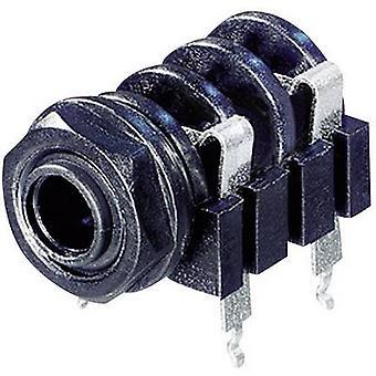 Rean AV NYS 2192 6.35 mm audio jack Socket, horizontal mount Number of pins: 2 Mono Black 1 pc(s)