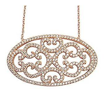 Lace oval necklace 18 ct rose gold plated
