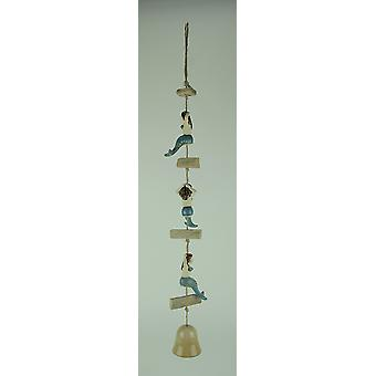 Coastal Driftwood and Ceramic Mermaid Wind Bell