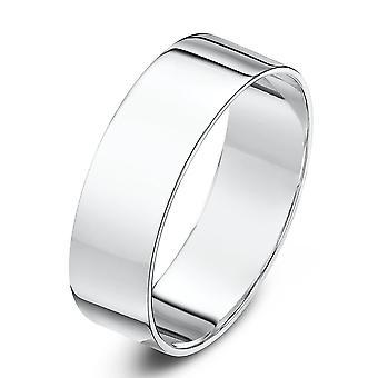 Star Wedding Rings 9ct White Gold Light Flat Shape 6mm Wedding Ring
