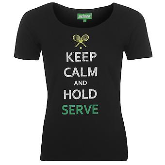 Prince Womens Keep Calm T Shirt Short Sleeve Performance Tee Top Round Neck