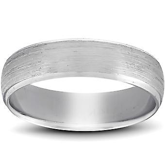 Λοξό & βουρτσισμένο γαμήλια μπάντα 14K λευκό χρυσό