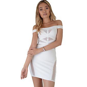 LMS Bandage Mini robe avec panneaux à mailles en blanc