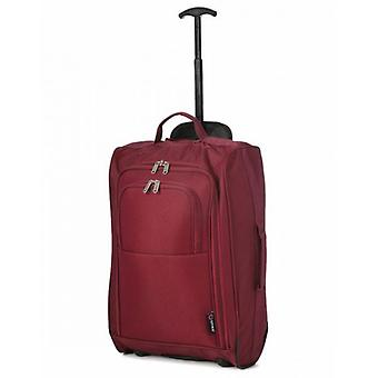 Wine Colour 21 Inch Cabin 2 wheeled Trolley Bag Flight Jet Travel Hand Luggage Lightweight