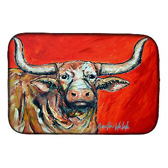 Carolines Treasures  MW1281DDM See Red Longhorn Cow Dish Drying Mat