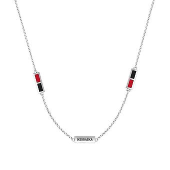 University Of Nebraska Sterling Silver Engraved Triple Station Necklace In Red and Black