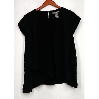 Kate & Mallory Top Short Sleeve Invert Pleat Layered Front Black A416425
