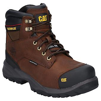 Caterpillar Mens Spiro Lace Up Waterproof Safety Boot Donkerbruin
