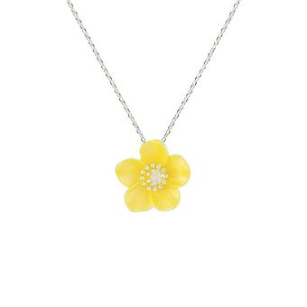 Eternal Collection Buttercup Yellow Enamel Silver Tone Flower Pendant