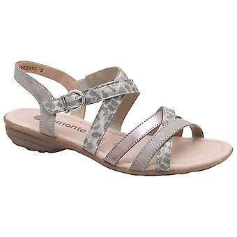 Remonte Multi Strap Adjustable Silver Flat Sandal
