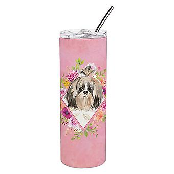 Shih Tzu Pink Flowers Double Walled Stainless Steel 20 oz Skinny Tumbler