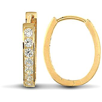 Jewelco London Ladies Solid 9ct Yellow Gold White Round Brilliant Cubic Zirconia Oval Huggie Hoop Earrings