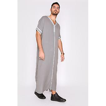 Gandoura sevilla men's long robe casual short sleeve thobe in grey