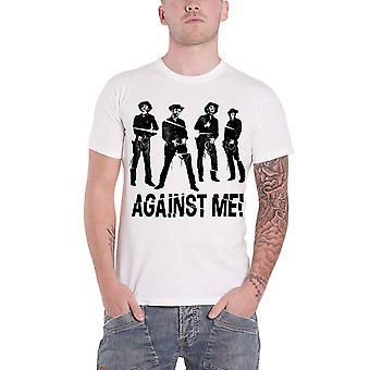 Against Me! T Shirt Western Band Logo Punk new Official Mens White
