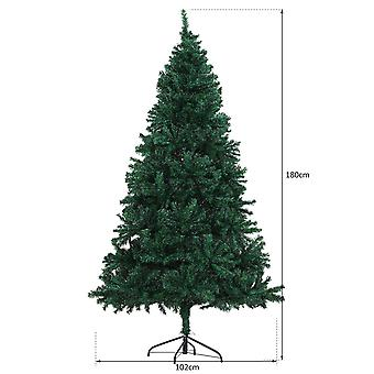 HOMCOM 6FT Artificial Christmas Tree Plain Spruce Faux Seasonal Decoration 1000 PVC Tips Metal Base Stand Easy Assembly