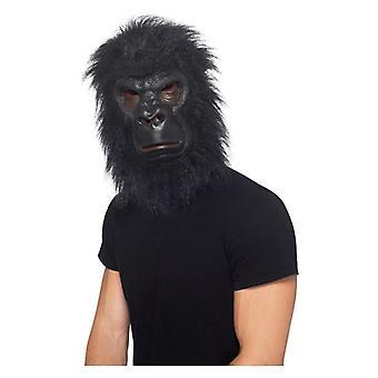 Gorilla Mask, Black, with Hair, Foam Latex Fancy Dress Accessory