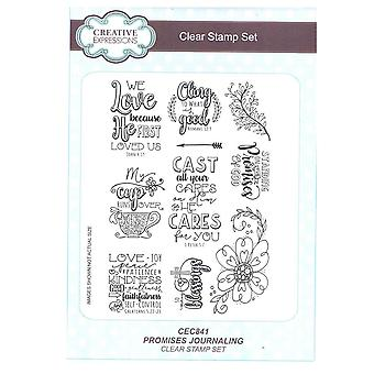 Creative Expressions A5 Clear Stamp Set - CEC841 Journalling - Promises