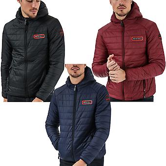 Bear Max Mens Grizzly Long Sleeve Hooded Zip Up Padded Puffer Winter Jacket Coat