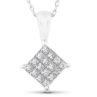 1/2 cttw Princess Cut Pave Diamond Halo Ciondolo 10K Bianco Oro 5/8