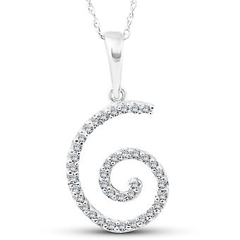 1/10ct Diamond Spiral Pendant 14K White Gold