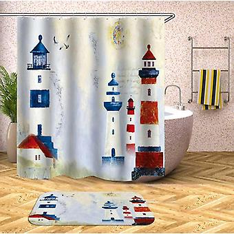 Old Town Lighthouse Painting Shower Curtain