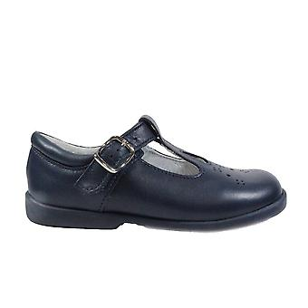 Startrite Swirl Navy Leather Girls Buckled T Bar Shoes