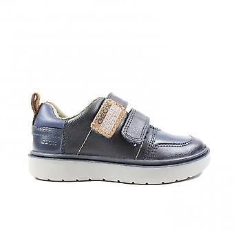 Geox Riddock J947SE Navy Leather Boys Rip Tape Trainers