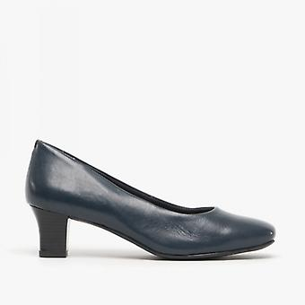 Comfort Plus Karla Ladies Leather Court Shoes Navy