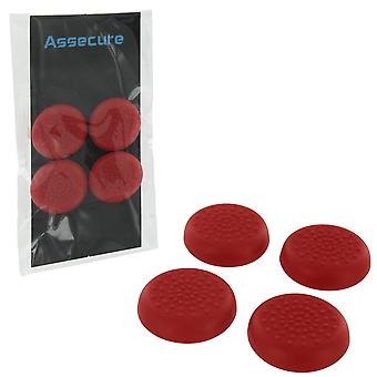 Assecure tpu protective analogue thumb grip stick caps for sony ps4 controllers [playstation 4] - 4 pk - red