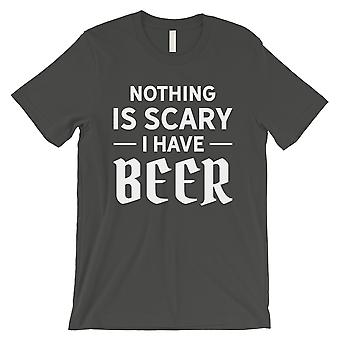لا شيء مخيف البيرة الرجال بارد رمادي المرح هالوين تي شيرت صديق هدية