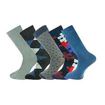 5 Pairs Men Ankle Socks Grey And Blue Selection 034