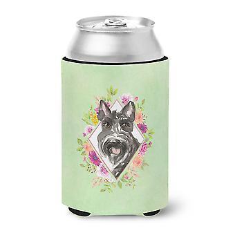 Scottish Terrier Green Flowers Can or Bottle Hugger