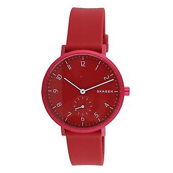 Skagen Women's Watch Wristwatch Aaren Silicone Red SKW2765