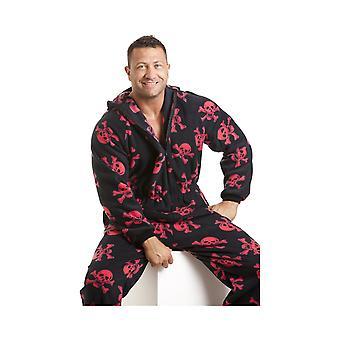 Camille Mens Black all-in-een pyjama's In rode of witte Skull Print