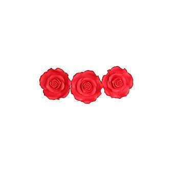 SugarSoft Edible Flower - Roses Strawberry Red 63mm - Box Of 8