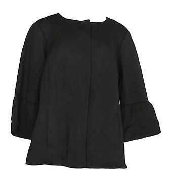 Alfani Women's Plus Basic Jacket Poncho Ruffle Sleeve Black