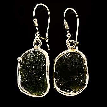 Czech Moldavite 925 Sterling Silver Earrings 1 7/8