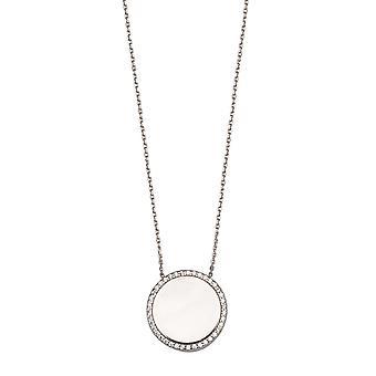 925 Sterling Silver Rhodium Plät polerad disk + CZ Cubic Zirconia Simulerad Diamond Halsband 18 Tums Smycken Gi