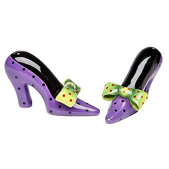 Purple Heels Green Bow Salt and Pepper Shakers Set