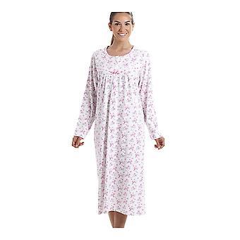 Manica lunga Classic Camille rosa stampa floreale in cotone 100% bianco camicia da notte