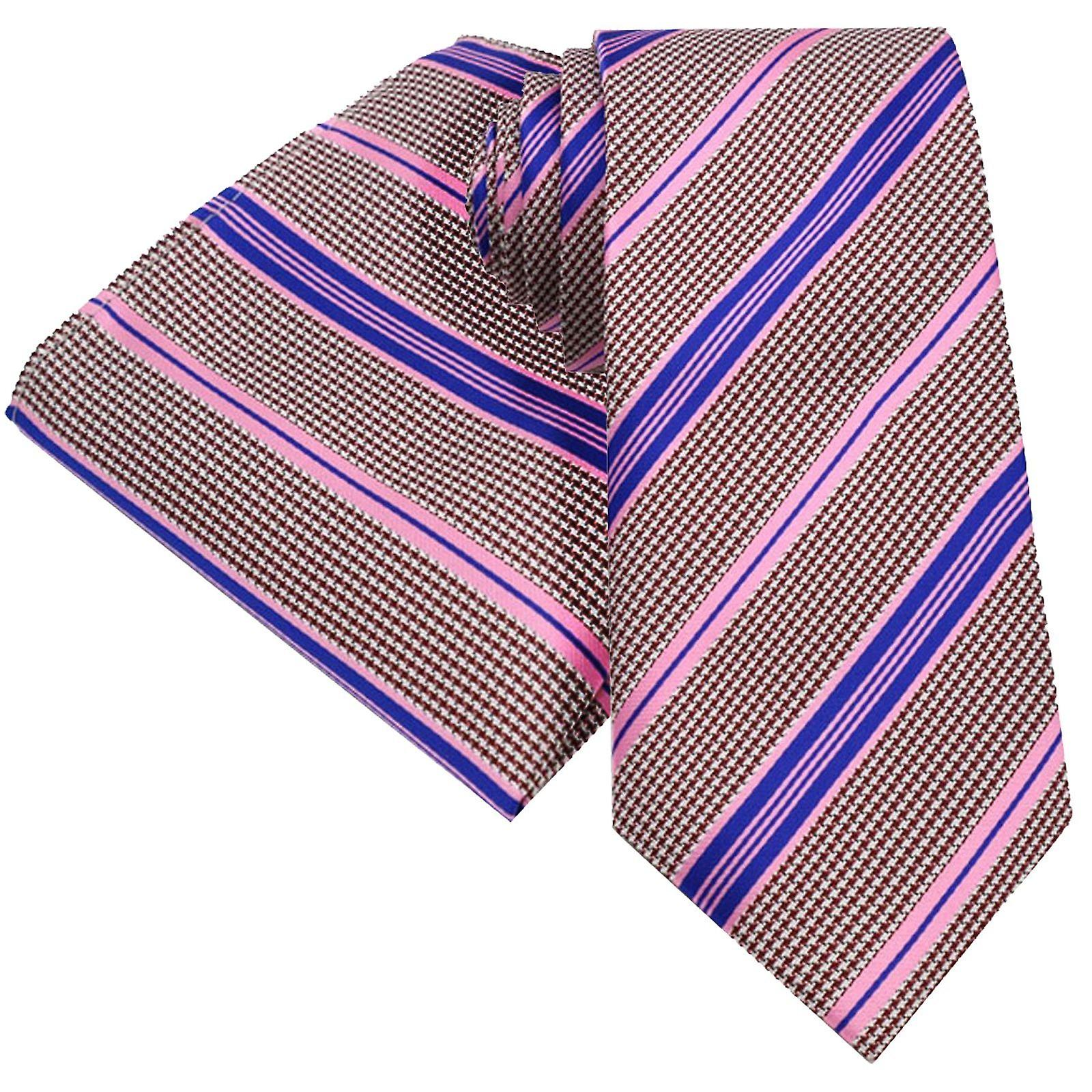 Purple pink & oat dog tooth pattern tie & pocket square