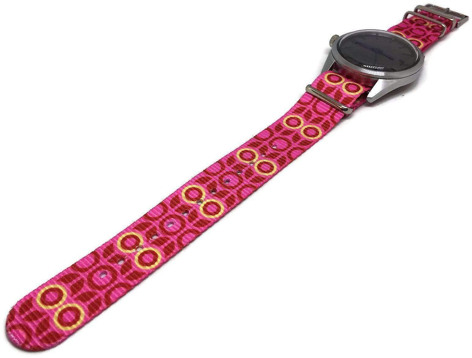 N.at.o zulu g10 style watch strap 20mm yellow pink flower pattern stainless steel buckle
