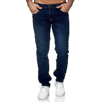Pantalones vaqueros de los pantalones de mezclilla clásico delgado usado lavado regular fondos de cintura