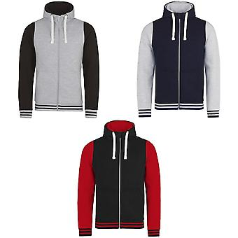 AWDis Just Hoods Adults Unisex Urban Varsity Full Zip Hoodie