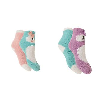 Girls Cute Slipper Socks With Grippers (2 Pairs)