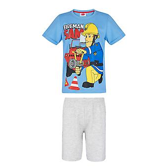 Fireman sam boys short sleeve pyjama set blue