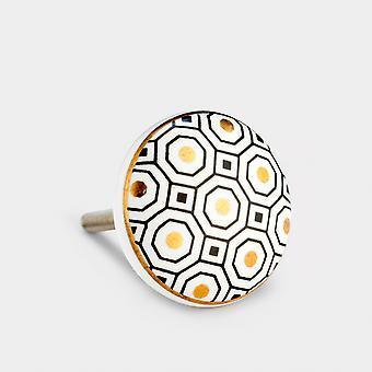 Ceramic Door Knob - Black / White / Gold - Octagon