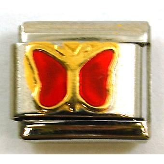 The Olivia Collection Red Enamel Butterfly Stainless Steel Italian Charm