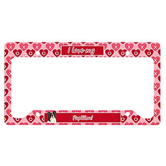 Carolines Treasures  LH9165LPF Papillon Valentine's Love and Hearts License Plat