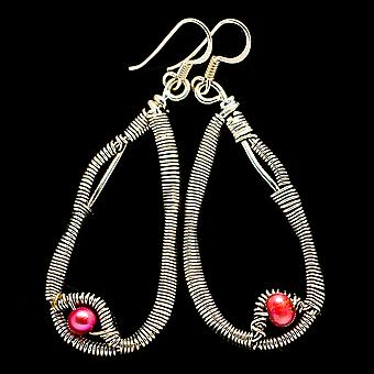 "Pink Cultured Pearl 925 Sterling Silver Earrings 2 3/8""  - Handmade Boho Vintage Jewelry EARR400560"